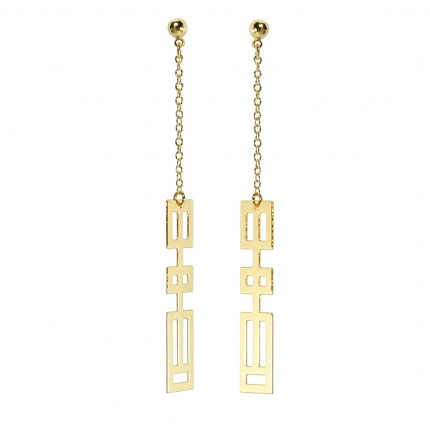 Boucles d'oreilles rectangle dorées or fin 24 carats