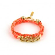 Bracelet double maillon, orange fluo, chaine doree