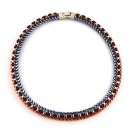 Collier chaine gourmette orange, bleu, bordeaux
