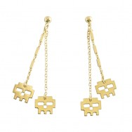 Boucles d'oreilles icone double dorees or fin 24 carats